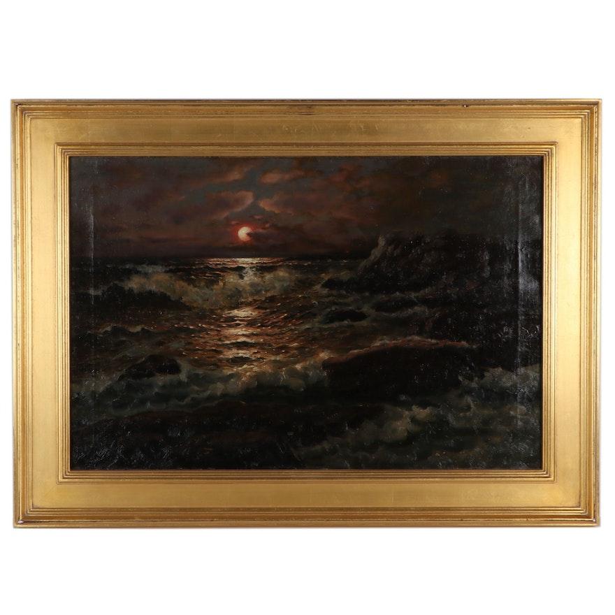 Richard Dey De Ribcowsky Nocturnal Seascape Oil Painting
