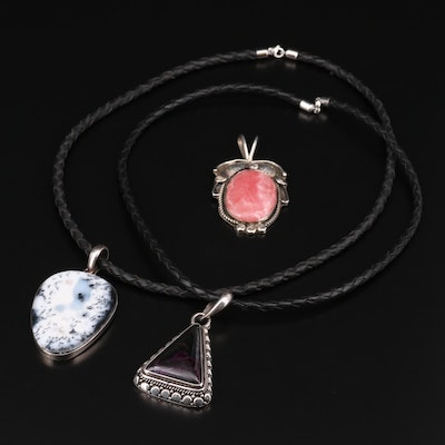 Sterling Silver Necklaces and Pendant with Agate, Rhodochrosite and Sugilite