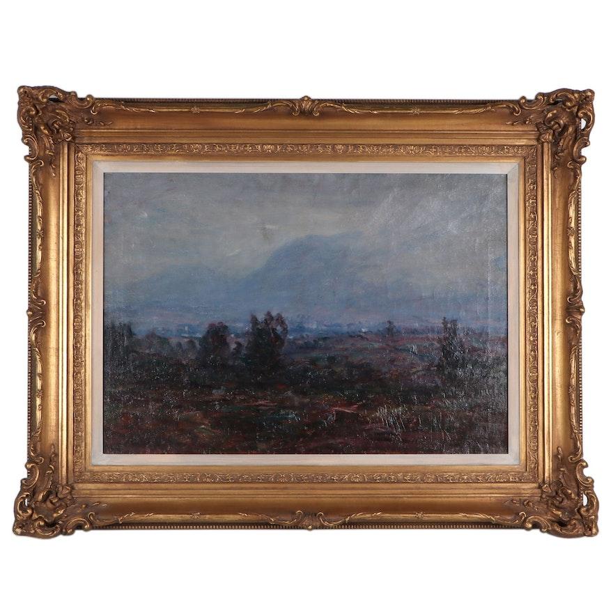 "Lewis Henry Meakin Landscape Oil Painting ""Mountain Mist"""