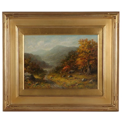"Bruce Crane Oil Painting ""Prospect Mountain Lake George, N.Y"""
