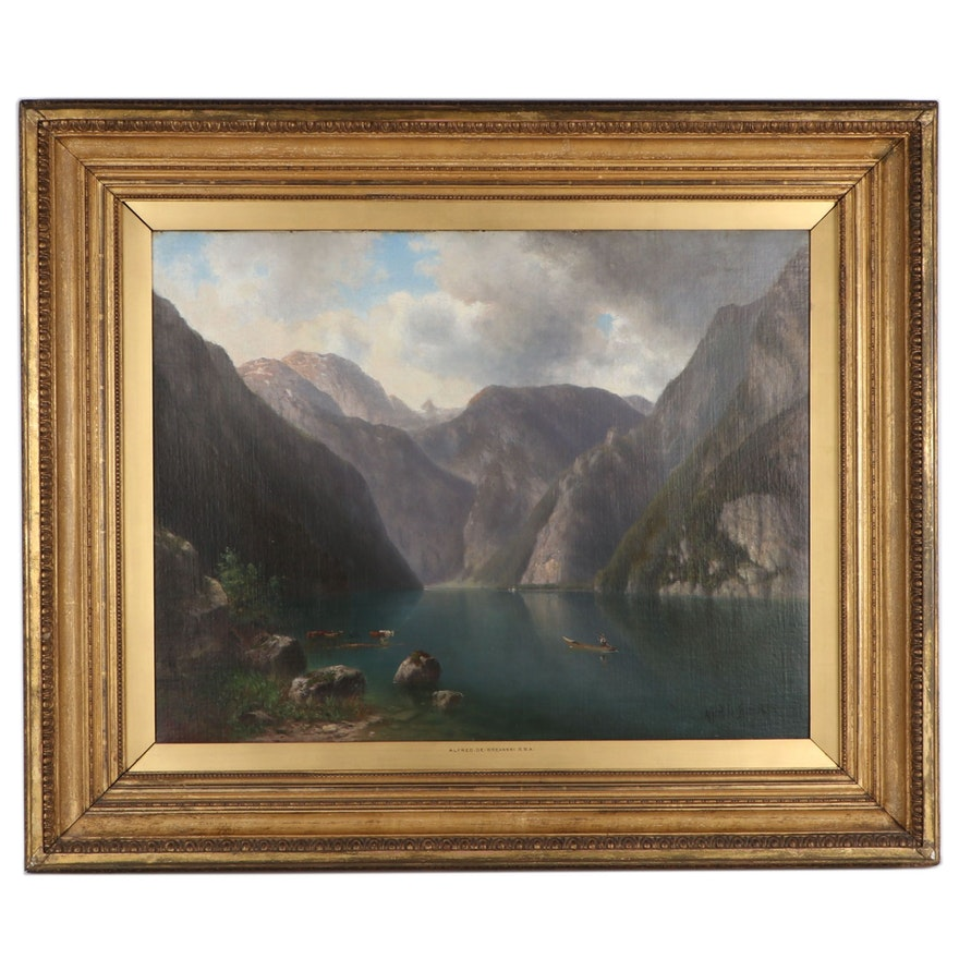 "Alfred De Breanski, Sr. Luminist Landsape Oil Painting ""Mountain Valley"""