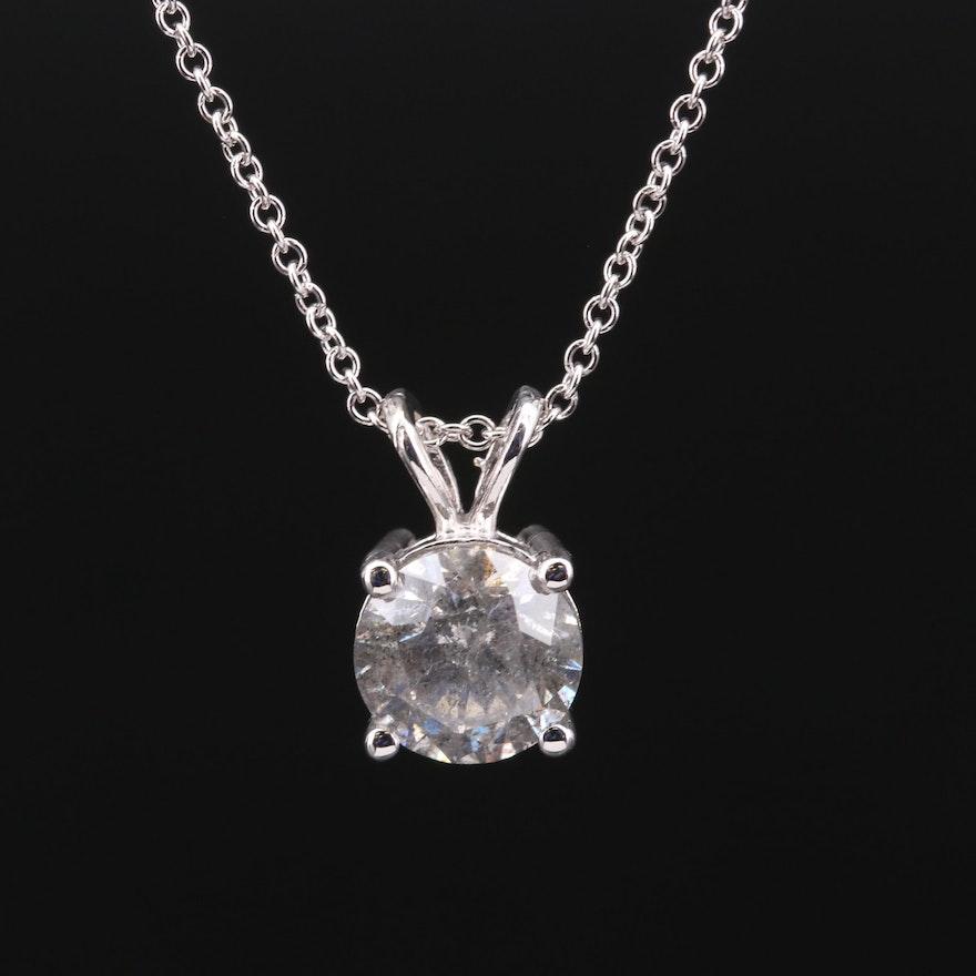 14K Gold 1.93 CTW Diamond Solitaire Necklace