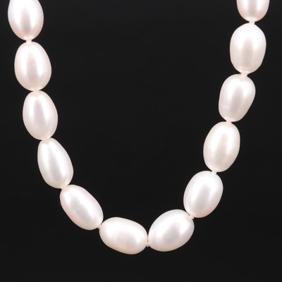 Hand Knotted Cultured Pearl Strand Necklace with Sterling Silver Clasp
