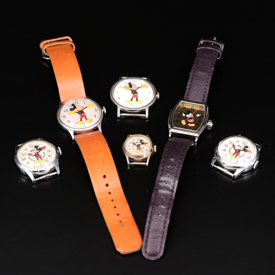 Collection of Mickey Mouse Stem Wind and Quartz Wristwatches