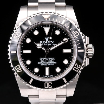 """Rolex Submariner """"No Date"""" 114060 Stainless Steel Automatic Wristwatch"""