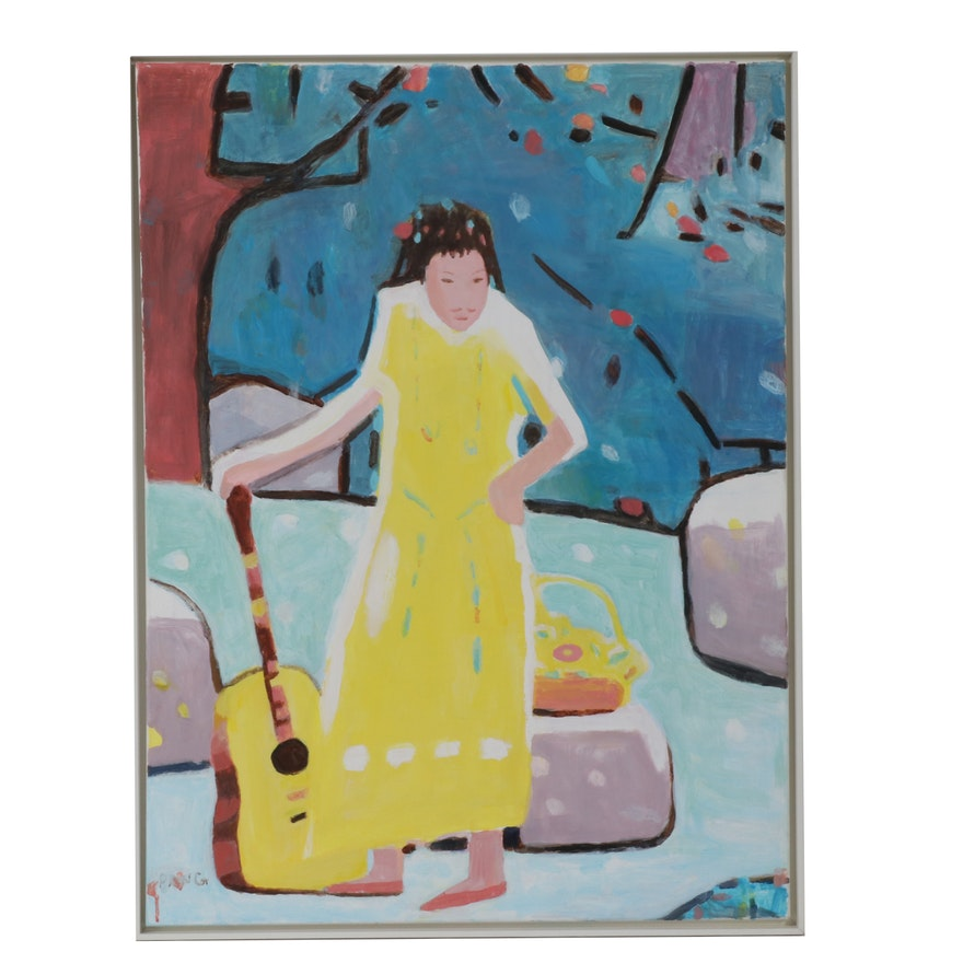 Jen Pang Abstract Oil Painting of Woman with Guitar