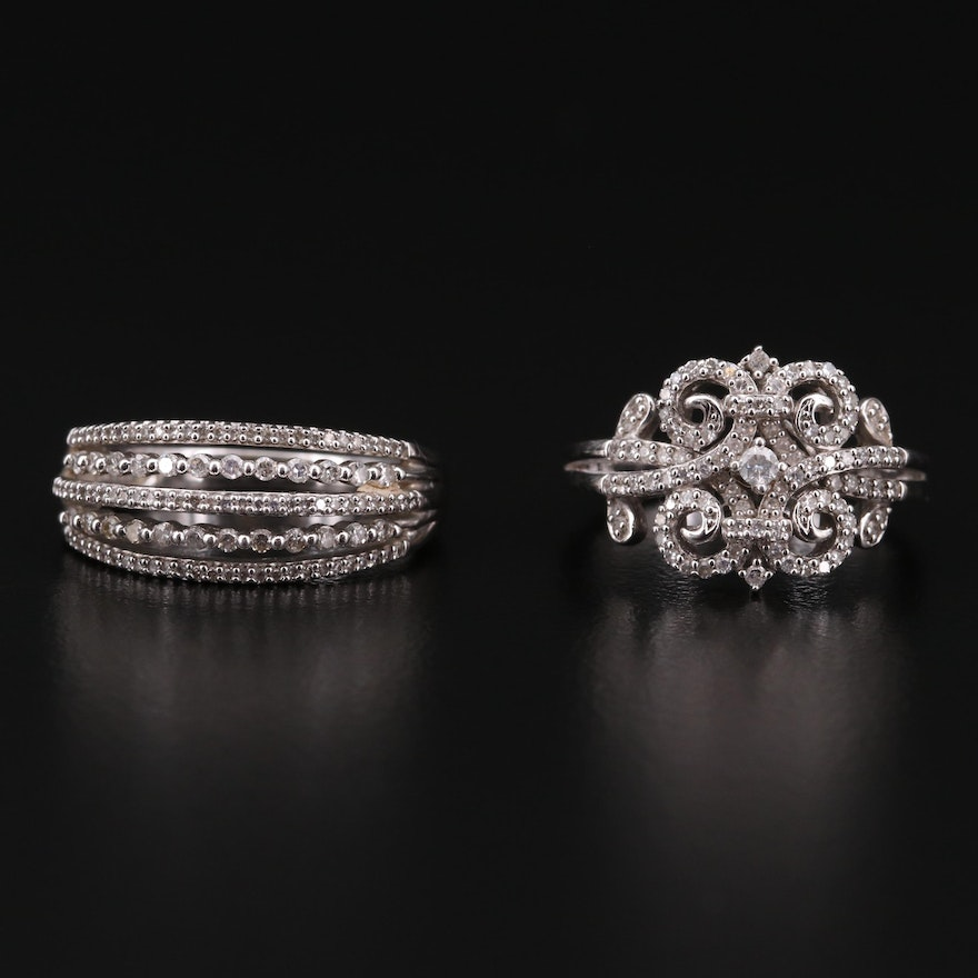 Sterling Silver Diamond Multi-Row and Swirl Rings