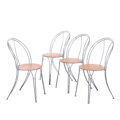 "Four IKEA ""Pajala"" Metal Bistro Side Chairs"