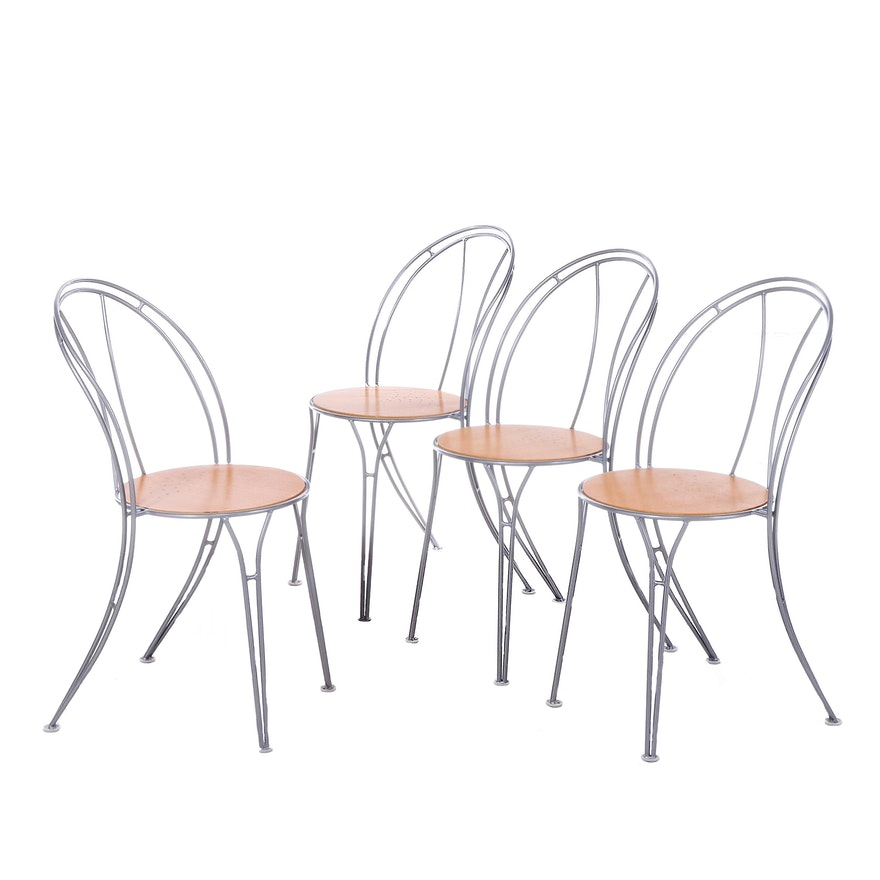 "Four IKEA ""Pajala"" Metal Bistro Side Chairs"