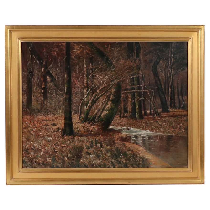 "Thomas Corwin Lindsay Monumental Landscape Oil Painting ""Autumn Forest"""