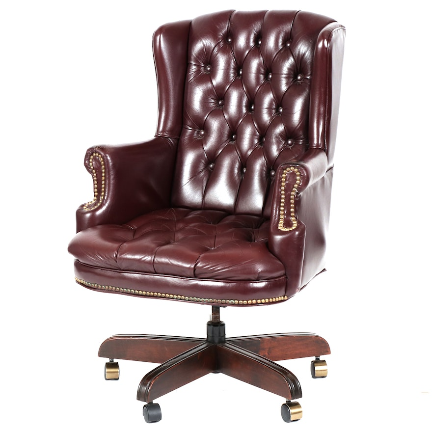 Button-Tufted Leather Wingback Rolling Desk Armchair
