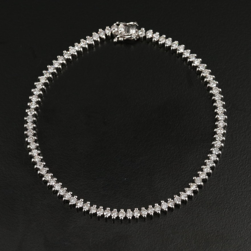 14K White Gold 2.46 CTW Diamond Tennis Bracelet