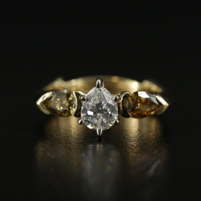 14K and 18K Gold 1.43 CTW Diamond Three Stone Ring