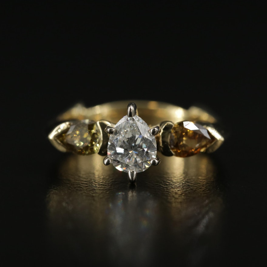 14K and 18K Gold 1.43 CTW Diamond Three Stone Ring