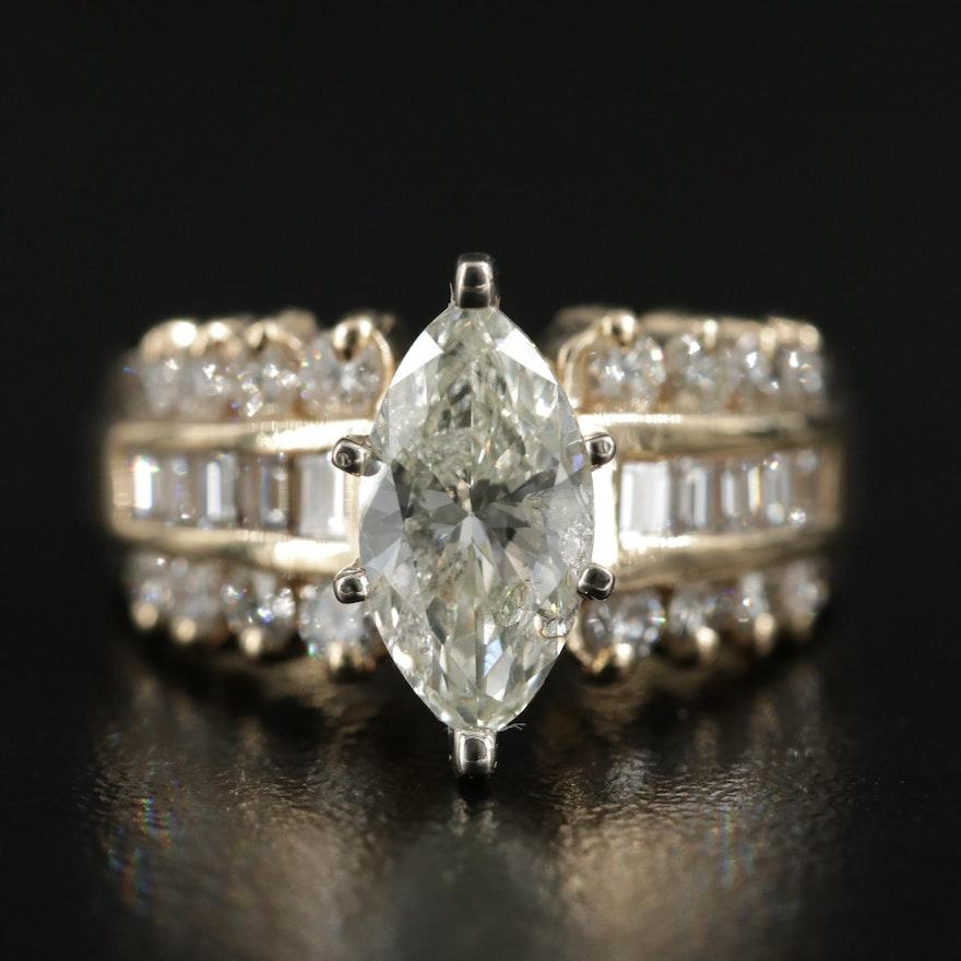 14K Gold 2.98 CTW Diamond Ring