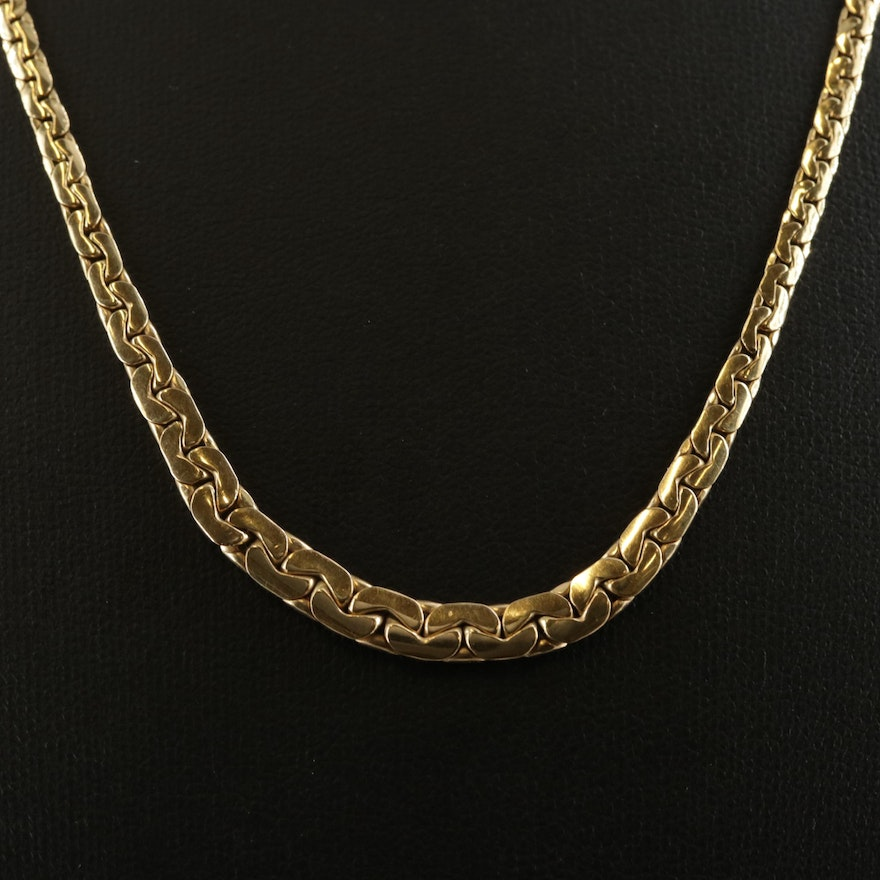 18K Yellow Gold C-Link Necklace
