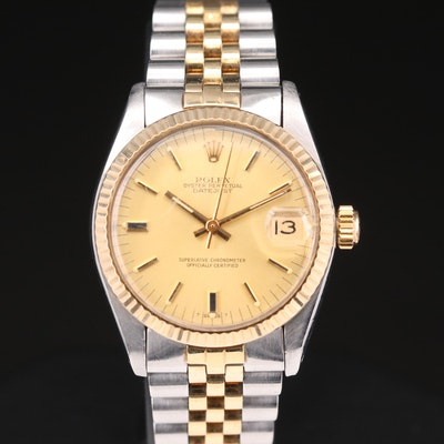 Stainless Steel and 14K Gold Rolex Datejust Automatic Wristwatch,1981
