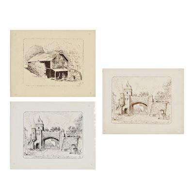 Franklin Folger Digital Prints after Ink Drawings of Quebec