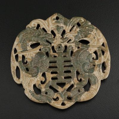 Carved 179.27 CT Serpentine Dragon Pendant