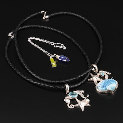 Sterling Silver Sealife Themed Necklaces and Anklet with Shell, Pearl and Glass