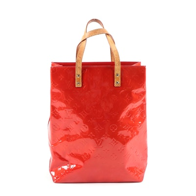 Louis Vuitton Reade MM in Red Monogram Vernis and Vachetta Leather