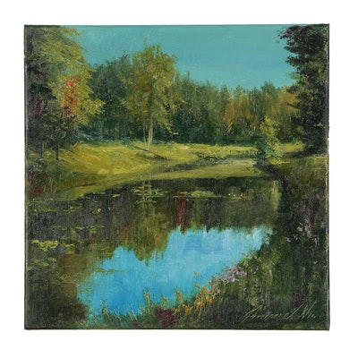 "Garncarek Aleksander Oil Painting ""Nad Stawem"", 2019"