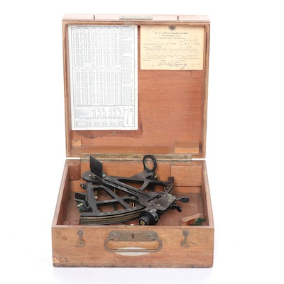 David White Co. Mark II Naval Sextant and Scope with Wooden Case, 1940s