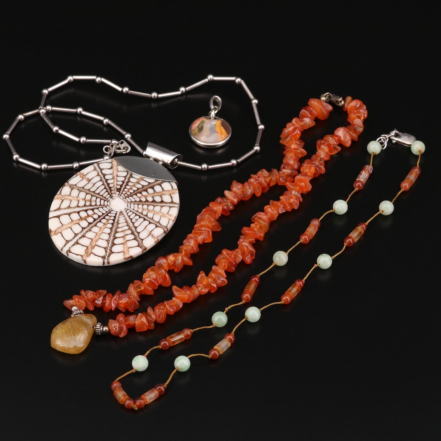 900 Silver Jewelry Featuring Shell, Agate and Jadeite
