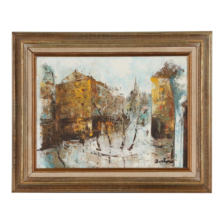 Abstract Townscape Oil Painting