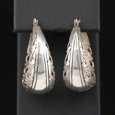 Vintage Jezlaine Sterling Silver Hoop Earrings