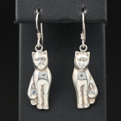 Sterling Silver Sitting Cat Earrings