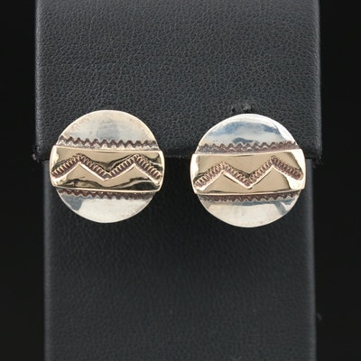 Southwestern Style Sterling Silver Stampwork Button Earrings with 14K Accents