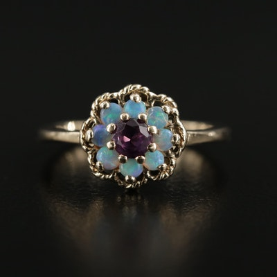 14K Gold Untreated Color Change Sapphire and Opal Ring