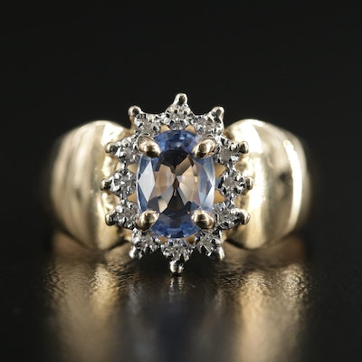 14K Gold 1.00 CT Sapphire and Diamond Ring