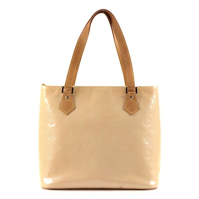 Louis Vuitton Columbus MM Tote in Monogram Vernis with Vachetta Leather Trim