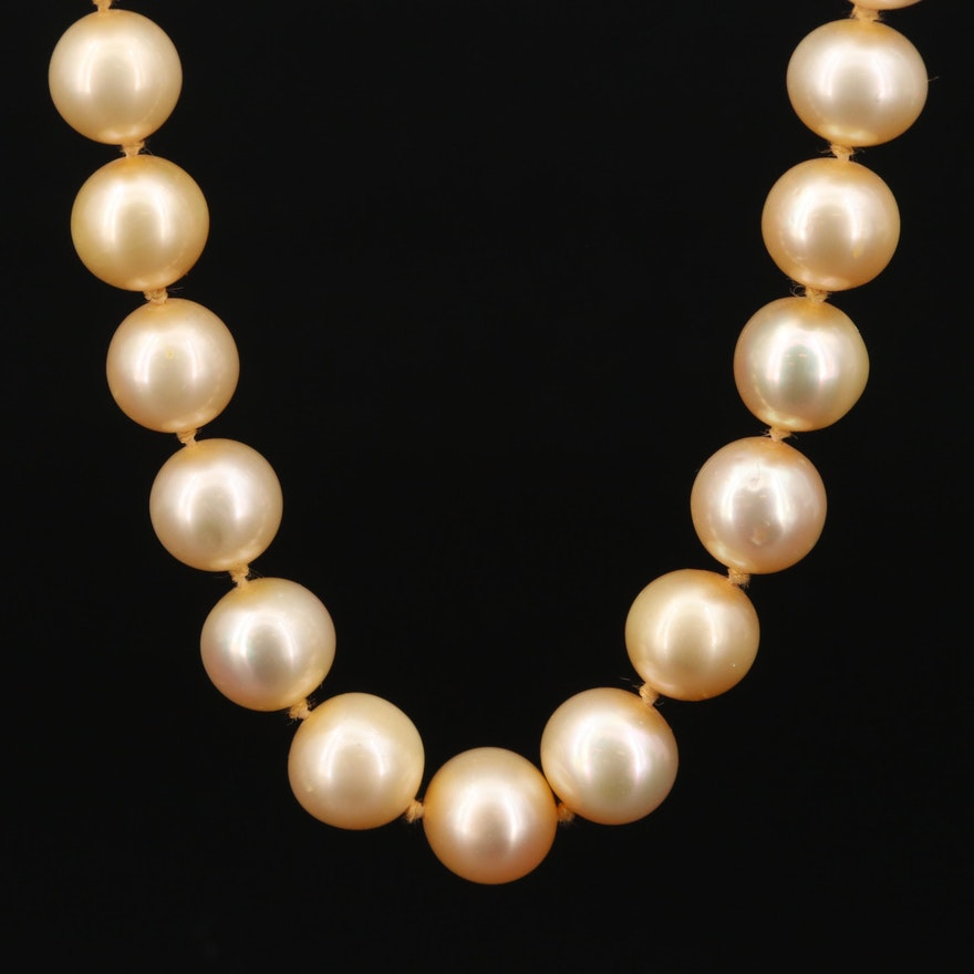 Strand of Yellow Pearls with 14K Fishhook Closure
