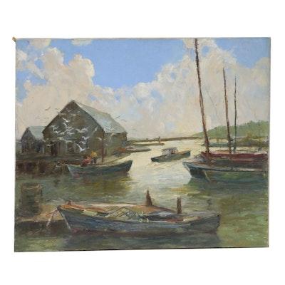 East Coast Harbor Scene Oil Painting, Mid to Late 20th Century