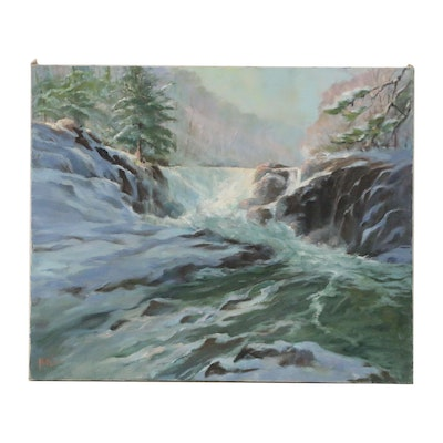 Mitzi Goward Oil Painting of Waterfall