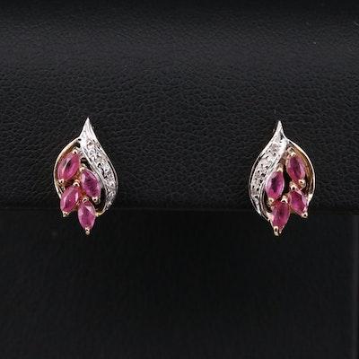 14K Yellow Gold Ruby and Diamond Stud Earrings