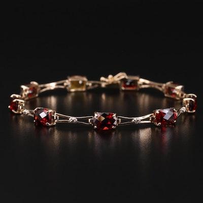 10K Gold Garnet, 1.00 CT Sapphire and Diamond Bracelet