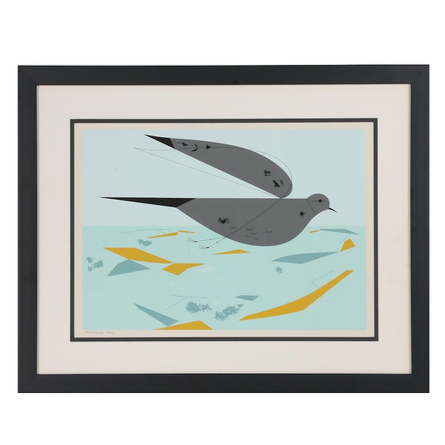 """Charley Harper Ford Times Serigraph """"Mourning Dove"""""""