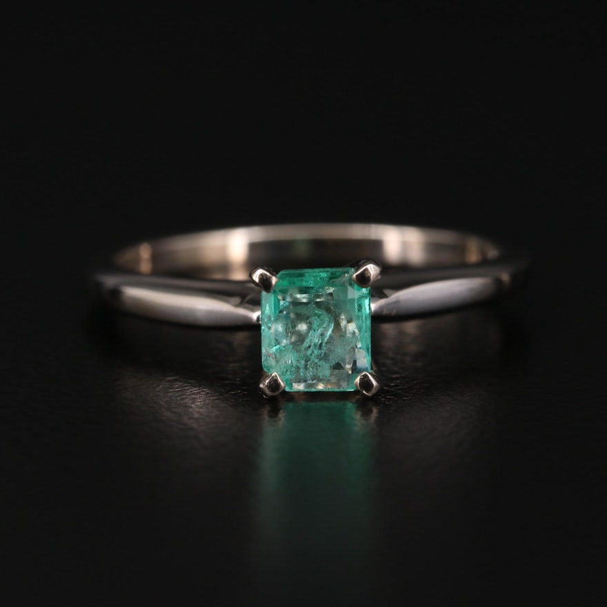 14K Gold Emerald Solitaire Ring