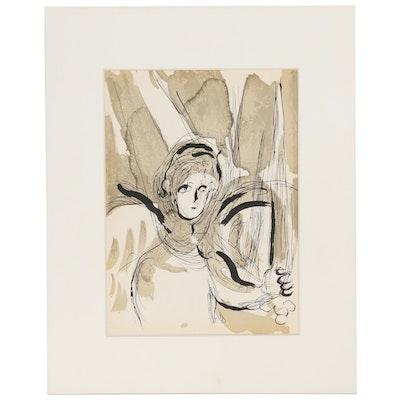 """Marc Chagall Lithograph """"L'Ange à l'Épée"""" from """"The Bible"""" Suite, 1956"""