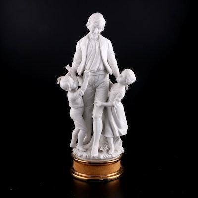 "English Parian Ware ""Father with Children"" Figurine"