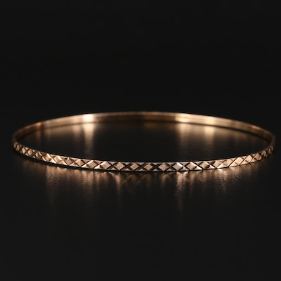 14K Bangle with Diamond Cut Finish