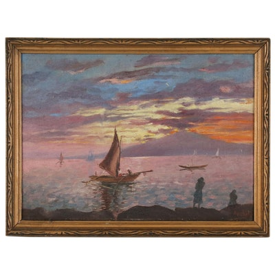 Isidro Ancheta Oil Painting of Harbor Scene with Boats