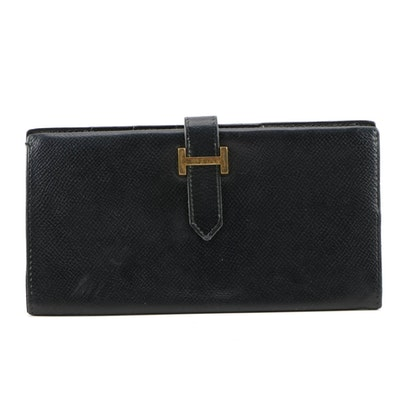 Hermès Bearn Portefeuille Soufflet in Black Chevre Mysore Leather