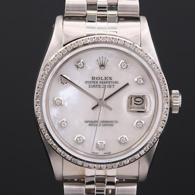 Rolex Datejust 14K Gold and Stainless Steel 1.15 CTW Diamond Wristwatch