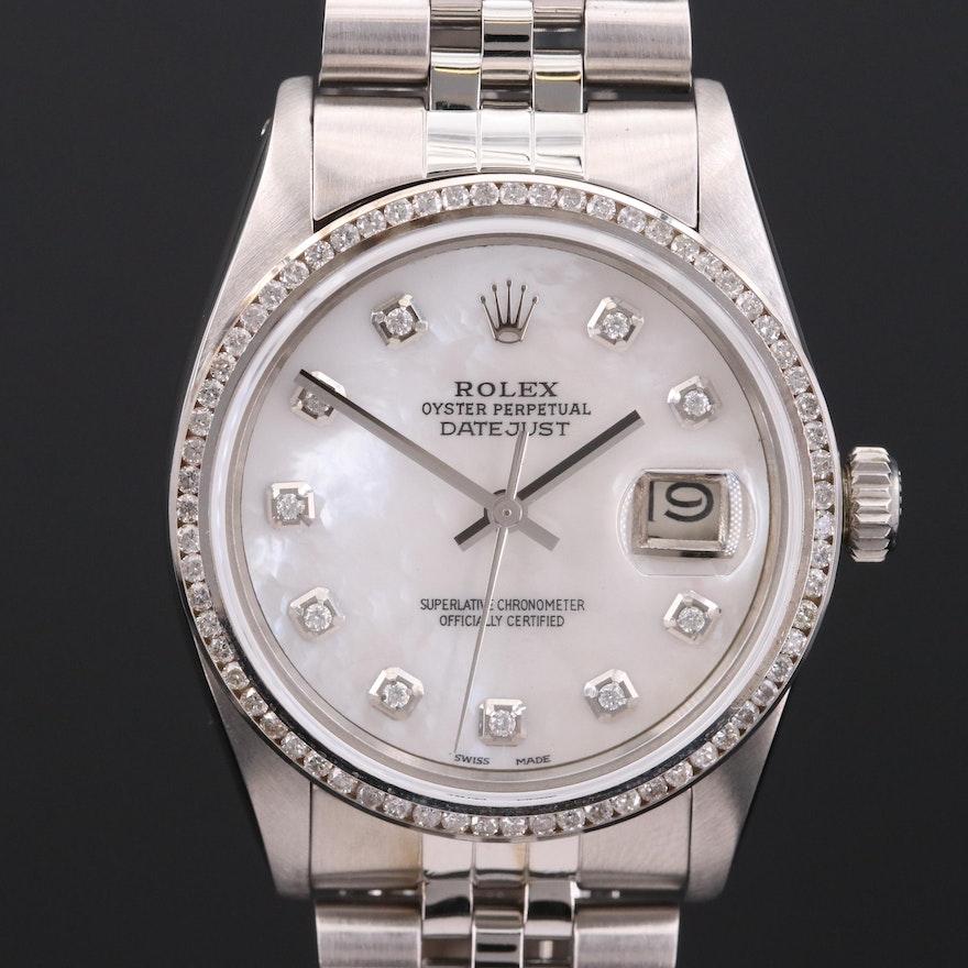 Rolex Datejust 14K Gold and Stainless Steel 1.15 CTW Diamond Wristwatch