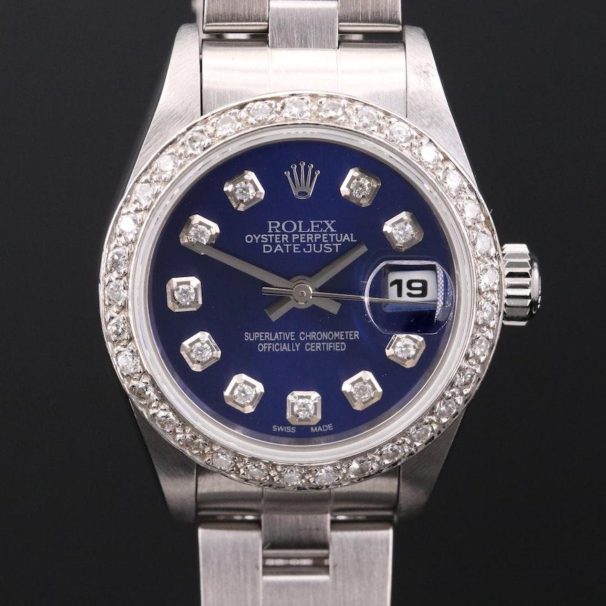 Rolex Datejust 14K Gold and Stainless Steel Diamond Wristwatch
